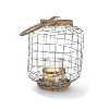 Wire and Rattan Lantern - Medium