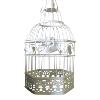 Cream Metal Birdcage - Leaf Design