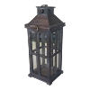 Dark Brown Wood/Glass Lantern-Medium