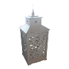 Distressed Wood White/Scroll Lantern