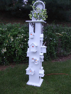 White Birdhouse Electric Column  Lantern