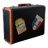 Suitcase - Navy Blue and Brown Travel