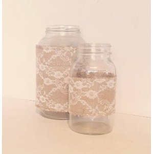 Rustic Lace Wrapped Mason Jars - Pickle Jar