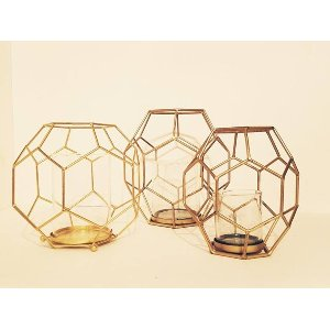 Gold Geometric Cage Vases