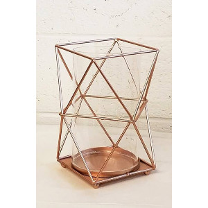 Copper Geometric Hurricane Candle Holder