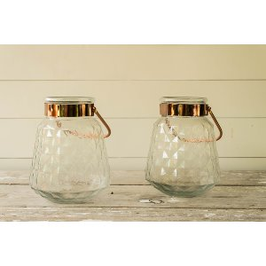Copper Etched Glass Urns
