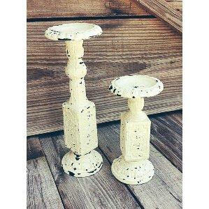 Rustic Cream Pillar Holder Set