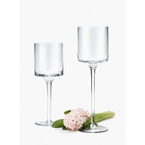 Glass Candle Cup Pedestal Pair