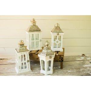 White Tin Top Lantern - Table Top
