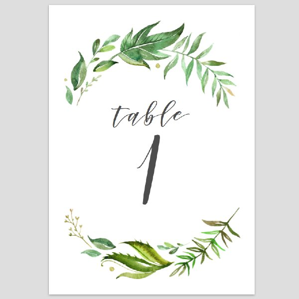 Greenery Table Numbers 1-10