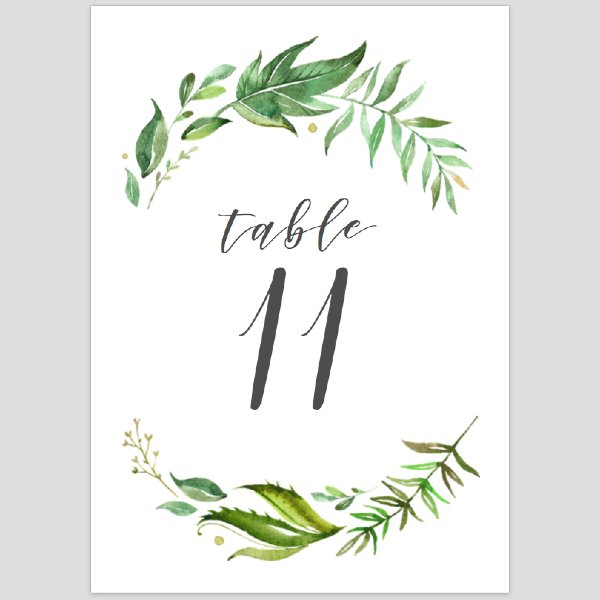 Greenery Table Number 11-20