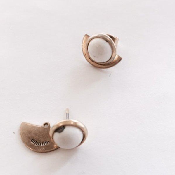 Petite Hemisphere Earrings - Howlite
