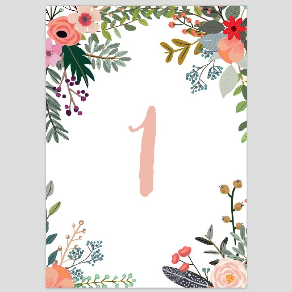 Floral Table Numbers 1-10