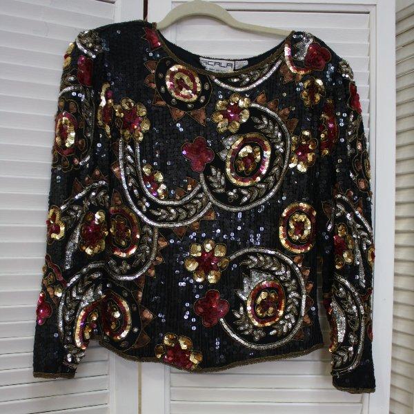 Scala Long Sleeve Sequin Top