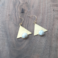 Howlite Pyramid Earrings