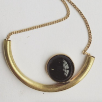 Eclipse Brass & Onyx Necklace