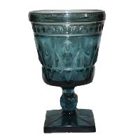 Sea Blue Glass Goblet