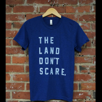 Land Don't Scare Navy Unisex Tee