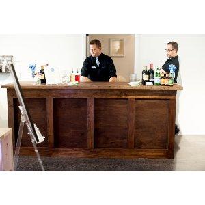 8ft 4 Pannel Dark Wood Bar