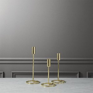 Tall brass taper candle holder set