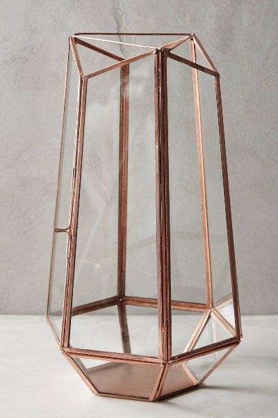 Copper Geometric Lantern - L