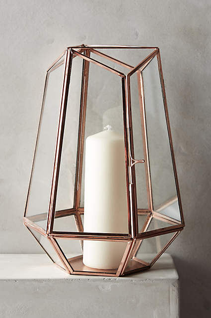 Copper Geometric Lantern - M