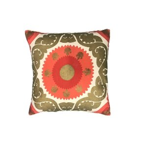 Coral & Gold Medallion Pillow