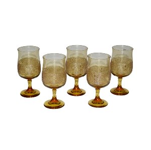 Vintage Amber Footed Goblets