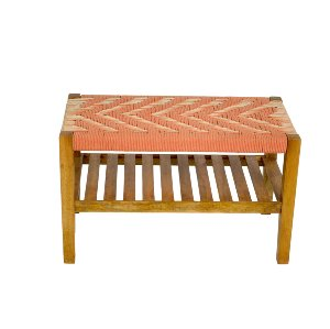 Coral and Cream Aztec Ottoman