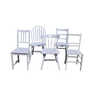 Assorted Wooden White Chairs