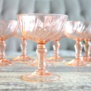 Assorted Pink Champagne Coupes
