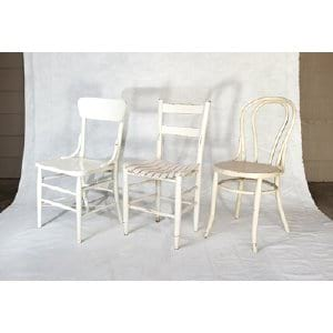 Assorted White Wood Chairs