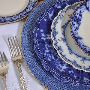 Assorted Vintage Blue Dinner Plates