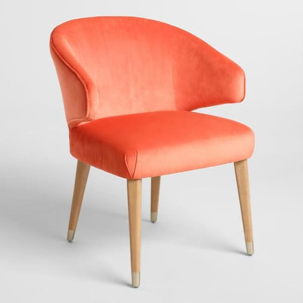Our Bright Coral Velvet Upholstered Chair Works Perfectly In A Lounge Or  For Seating At A Dining Table.