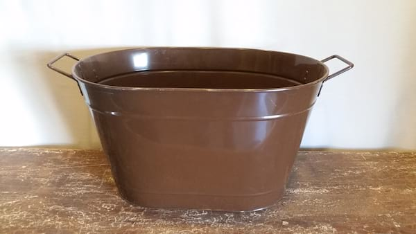Bucket - Brown Metal Oval Large
