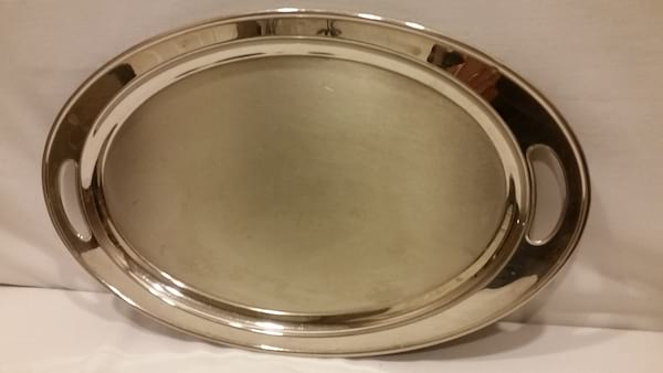 Tray - Silver Oval Simple Two Handle