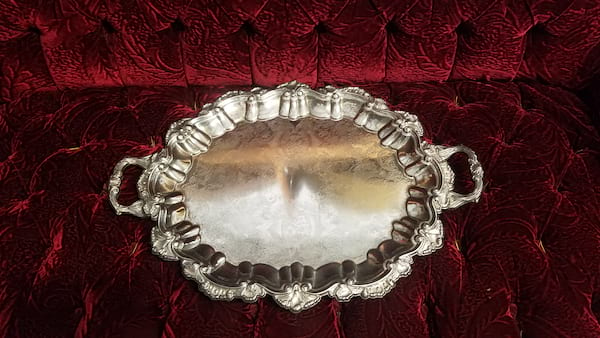 Tray - Silver Ornate Oval Two Handle
