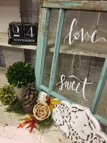 """Window - Small Blue """"Love is Sweet"""""""