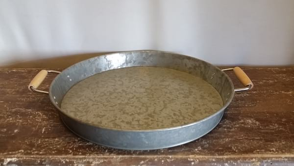 Tray - Galvanized Round Wood Handles