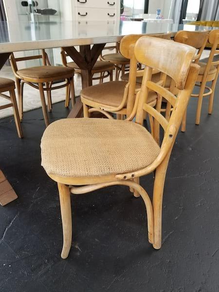 Chair - Light Wood Burlap Seat