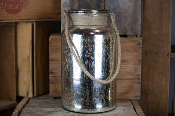 Vase - Mercury Glass Tall Rope Handle