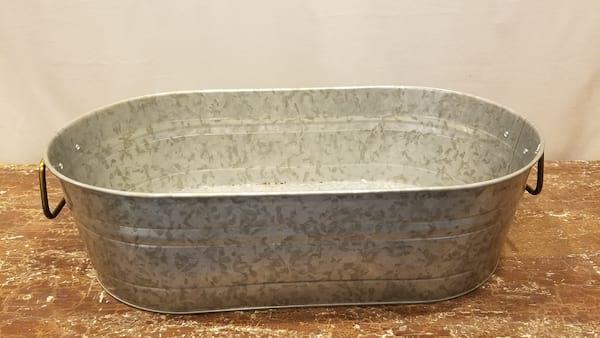 Bucket - Medium Oval Galvanized w/Metal Handles