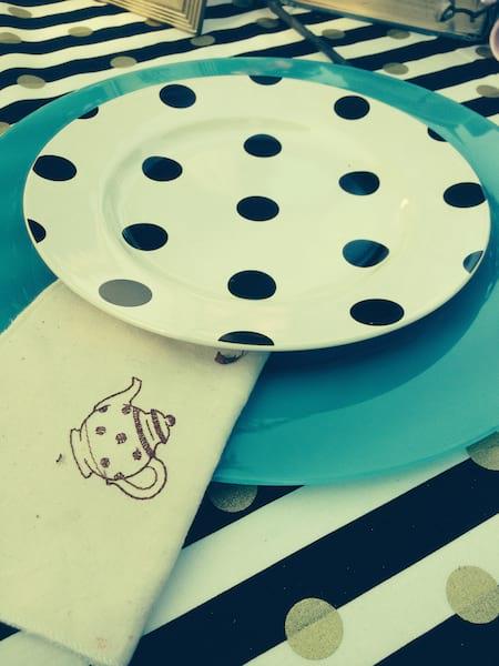 Plate - Black Polka Dot