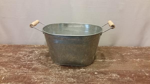 Bucket - Small Oval Tub w/Wood Handles