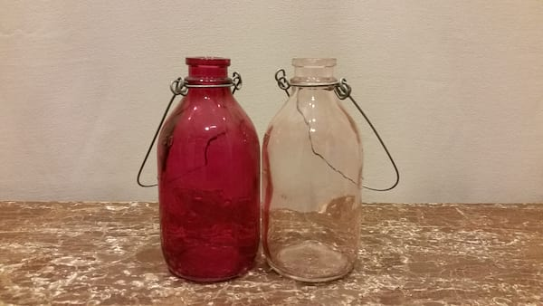 Bottle - Assorted Pink Glass Hanging