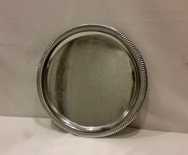 """Tray - Silver Round Shiny 14"""""""