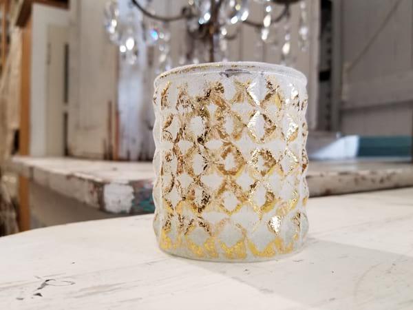 Votive - Mercury Glass Gold White Texture
