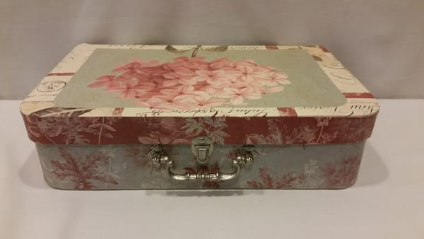 Suitcase - Large Green and Pink Hydrangea