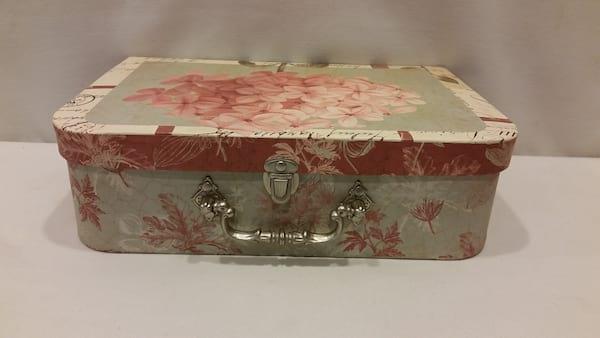 Suitcase - Medium Green and Pink Hydrangea