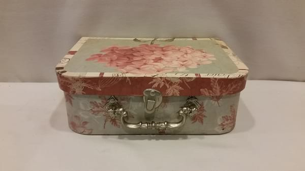 Suitcase - Small Green and Pink Hydrangea